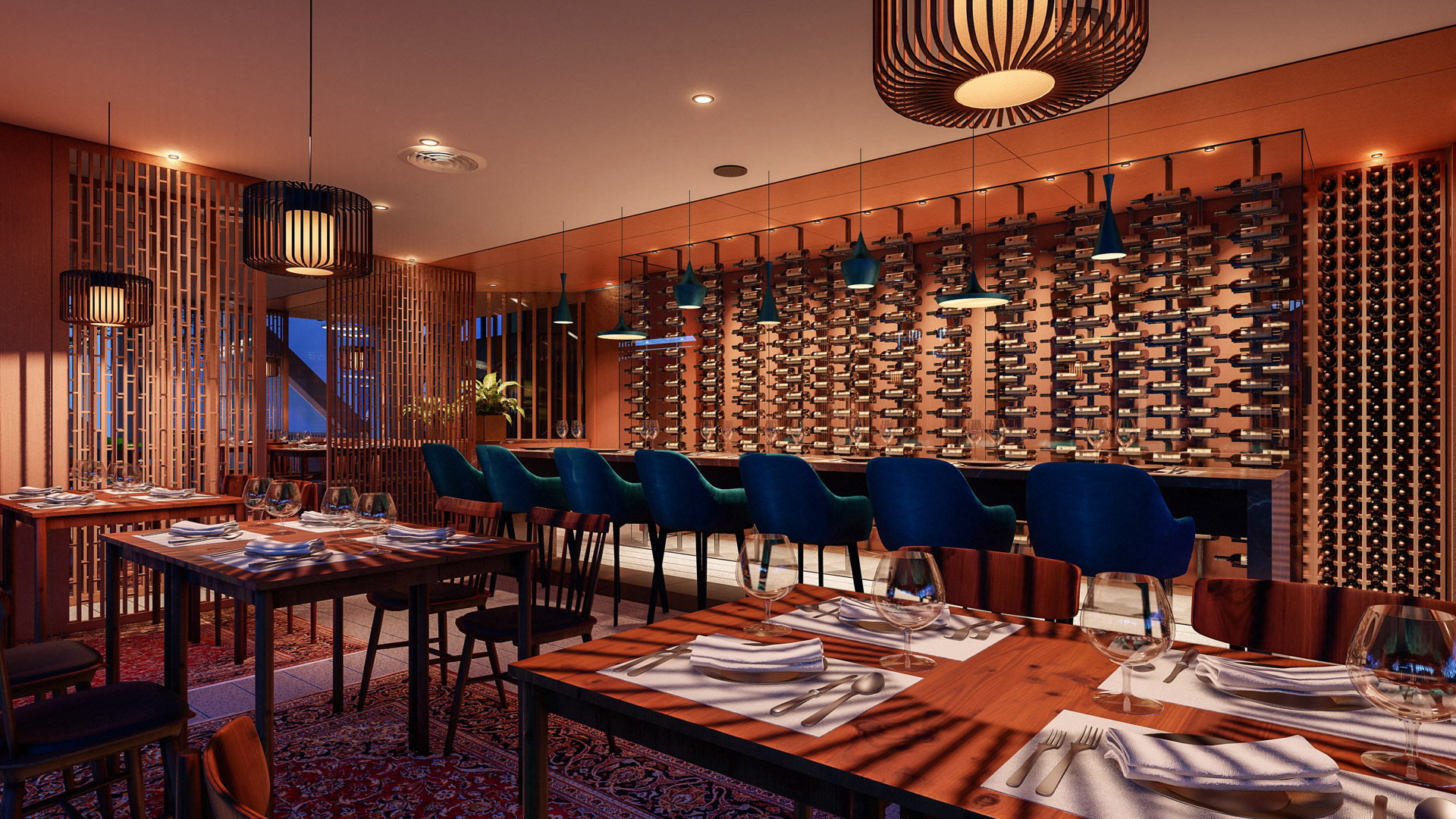 MAP-Wine-cellar-interior-design-architecture-architect-kiran-mathema-tasting-counter-display-night
