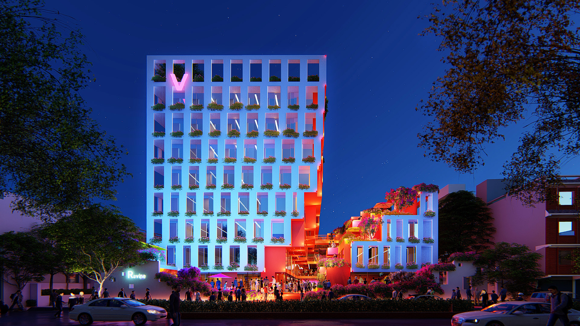 MAP Design Architecture Retail_Mixed_Use_Architect_Kiran_Mathema_Shopping_arcade_Louver_facade_Louver_Facade_Night