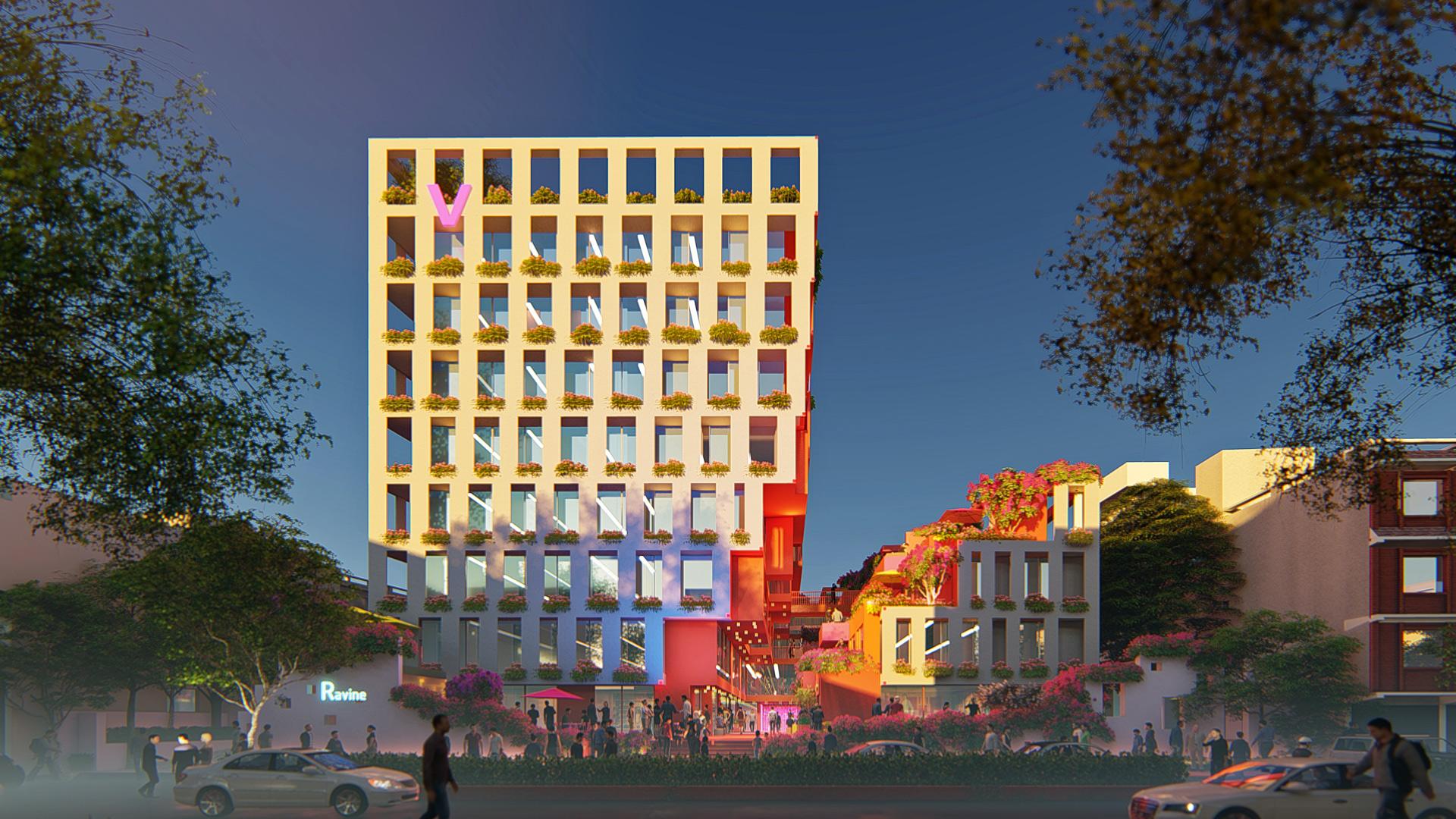 MAP_Design_Architecture_Retail_Mixed_Use_Architect_Kiran_Mathema_Shopping_arcade_Louver_facade_Street_Dusk